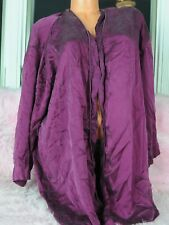 VTG Victoria's Secret Plum Purple 100% Silk Classic Peignoir Coverup Robe sz OS
