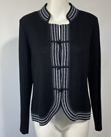 Exclusively Misook Womens Sweater Black White Ribbed Cardigan Long Sleeve Sz LP