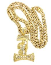 """NEW ICED OUT HYPNOTIZE MINDS PIECE WITH 30"""" 10mm ICED OUT CUBAN CHAIN."""