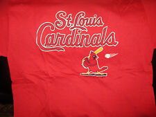 Original 1987 ST. LOUIS CARDINALS LOgo RED 50% 50 % T Shirt MED By Trench NWOT
