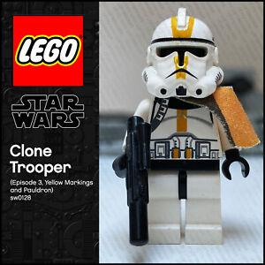 GENUINE LEGO Star Wars Minifigure Clone Trooper Episode 3, Yellow Marking sw0128