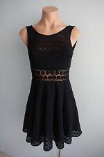 Free People US NEW Sleeveless Lace & Floral Waist Black Dress sz US 0 / Aust 4