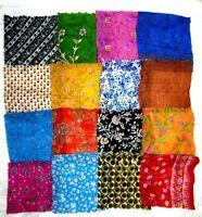 "LOT PURE SILK Vintage Sari Fabrics REMNANT 16 pcs 8"" SQUARES Small Flower SCARF"