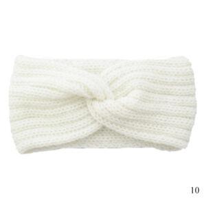 White Crochet Knitting Woolen Headband Weaving Cross Handmade DIY Hairband√