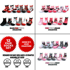 Disney Baby Girls Minnie Mouse Assorted Design 12 Pair Socks Set, Age 0-24 Month