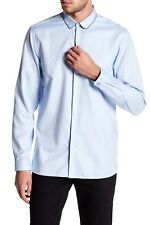 The Kooples Leather Trim Regular Fit Dress Shirt, 100% Cotton, Large, $215, NWT