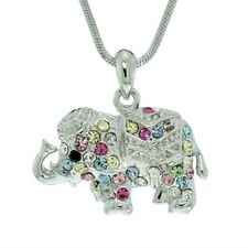 """ELEPHANT Made With Swarovski Crystal Multi Color Luck Pendant Necklace 18"""" Chain"""
