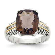Smokey Quartz & Diamond Ring Silver 14K Accent 0.03 Ct Size 6 - 8 Shey Couture
