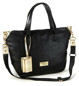 Versace Large Black & Gold Zipped Tote Bag with Purse  / Shopper / Beach