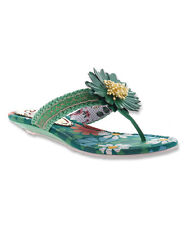 "New Sz8 POETIC LICENCE Green ""Oh Momma"" Floral FLIP FLOP Sandal, PRETTY! Orig$87"