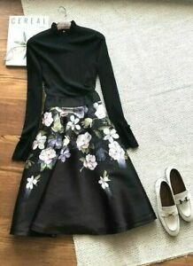 New Ted Baker women Nerida Opal Print Full Skirt Midi Dress Size 3,4