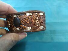 VTG Tooled Leather Wrist Cuff Belt Bracelet Brown