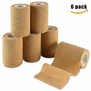 MEDca Self Adherent Cohesive Wrap Bandages First Aid Tape 3 X 5 Yards - 6 Count