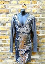 French Connection Women's Silver Metallic  Sequinned Jumper Dress Size UK 12