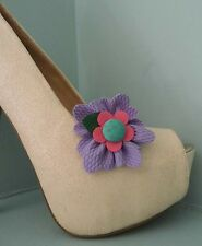 2 Cute Flower Clips for Shoes Purple with Green Spotted Button