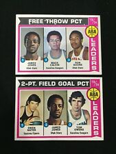 ABA 2-PT FIELD GOAL & FREE THROW PCT TOPPS 1974 VINTAGE BASKETBALL CARDS