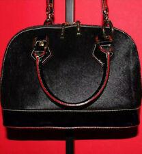 ARCADIA Black Pony Hair Patent Leather Medium Domed Cross-body Purse Bag ITALY