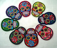 LOT de 8 ÉCUSSONS PATCH BRODÉ thermocollant - TÊTE de MORT SKULL **5,5 x 7 cm**
