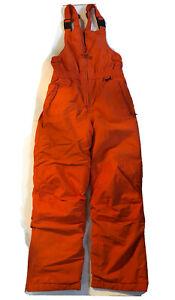 Lands End Kids Squall Waterproof Iron Knee Bib Snow Ski Pants Size 12 Orange Boy