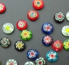 25 x 8MM Assorted Mixed Flat Round Millefiori Beads - A5035