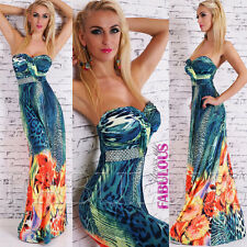 Sexy A-Line Floral Animal Print Maxi Dress Formal Summer Size 8 10 12 S M L
