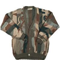 Vintage Coogi Style Cardigan Sweater Geometric Abstract Grunge 80s 90s L Grandpa
