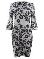DKNY Women's Bell-Sleeve Printed Dress