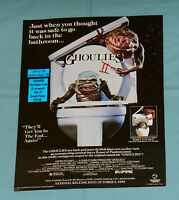 original VESTRON VIDEO advertisement GHOULIES II Rambo III flyer