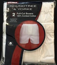 Men's Roundtree & Yorke White Full-Cut Boxers 2 Pack Size 50 NEW 100% Cotton $28