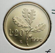 1999  Repubblica Italiana 20 lire FONDO SPECCHIO  da divisionale