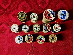 """LOT OF (13) Vintage Wooden Thread Spools Small to Large Sizes """"ALL WITH THREAD"""""""