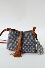 Cross Body Handbag Design Guatemalan No Dye Cotton Leather Accented Ecofriendly