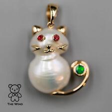 Baroque Pearl Kitty Cat Pendant Necklace Australian Doublet Opal Ruby 14K Gold