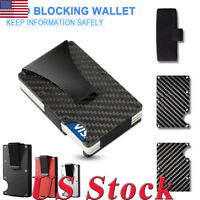 Slim Carbon Fiber ID Credit Card RFID Blocking Metal Wallet Money Clip Purse USA