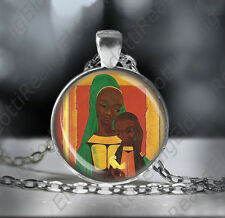 African Madonna Necklace Black Mother Mary Baby Jesus w Dove Pendant Silvertone