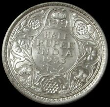 1933 SILVER INDIA ONE HALF RUPEE KING GEORGE V COIN HIGH GRADE CONDITION