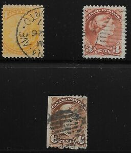 Canada Scott #35, 37 & 39, Singles 1870-89 FVF Used