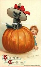 "Vintage Halloween Fabric Block Postcard Image 5.5"" x 8.5"" Brundage Black Cat"
