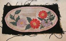 "Antique Rag Wool Hooked Rectangular Area Rug Textiles Lancaster Co PA ~23"" x 41"""