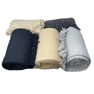 100% Cotton Ribbed Sofa Bed Throw Over