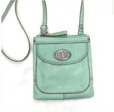 Vintage Fossil Mint Pebbled Leather Crossbody Shoulder Travel Bag