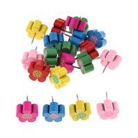 20pcs Wood Push Pins Flower Thumb Tacks Decorative for Cork Boards Mixed