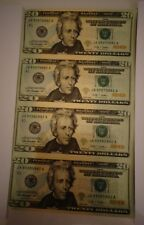 $20 X 4 UNCUT SHEET: 20 dollar 4 uncut Legal USA bills *Real Currency gift Notes