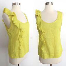 Anthropologie Fei size 6 yellow sheer sleeveless tank top blouse ruffles summer