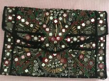 ZARA Ethnic Embroidered Mirror Envelop Clutch Bag Embellished Diamanté Handbag