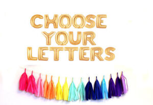 """16"""" Gold Silver Pink Blue Foil Letters Balloons Custom Name Personalise Message"""