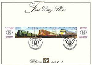 [FDS53] Belgium FDS 2001-8 Trains First Day Sheet SUPERB