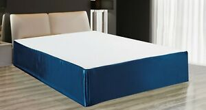 "MODERN SOLID SATIN  SPLIT CORNERS 1PC BED BEDDING PLEATED SKIRT DROP 14"" NEW"