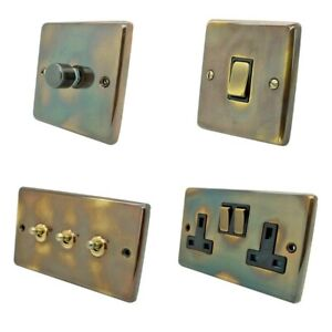 Aged Antique Brass Plug Sockets Light Switches Dimmers - Whole Range available
