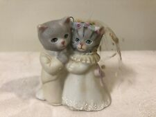 Vintage 1987 Schmid Kitty Cucumber Bride And Groom Ornament Figurine